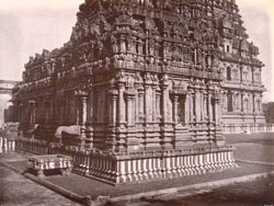 View from the north-west of the façade of the Subramanya Shrine of the Brihadishvara Temple, Thanjavur